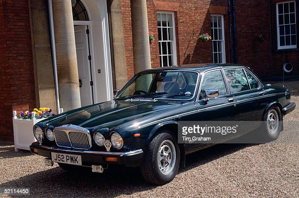 The Queen's Daimler Doublesix Jaguar Car Parked Outside The Jockey Club During Her Official Visit