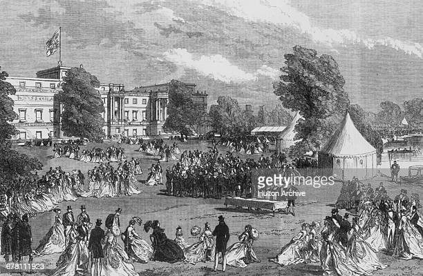 The Queen's Garden Party hosted by Queen Victoria in the grounds of Buckingham Palace London June 1868 An engraving by C Robinson for 'The...