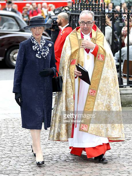 The Queen's ladyinwaiting the honourable Mary Morrison attends a memorial service for the late Sir Terry Wogan at Westminster Abbey on September 27...