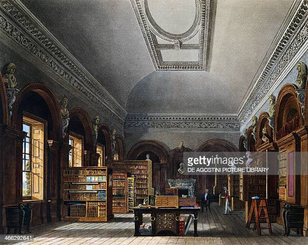 The Queen's library, engraving by Richard Reeve after a drawing by Charles Wild, from The History of the Royal Residences, 1816-1819, Volume III, St...