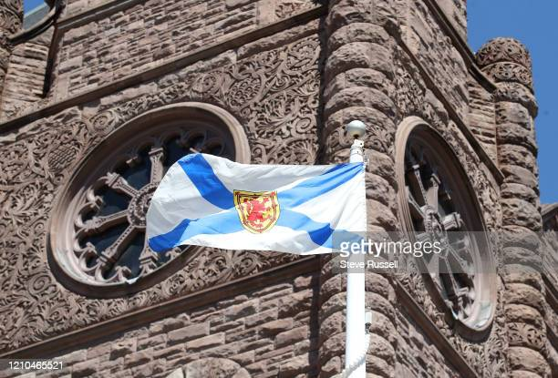 TORONTO ON APRIL 20 The Queens Park flies the flag of Nova Scotia in honour of the victims of the mass shooting in Nova Scotia April 20 2020