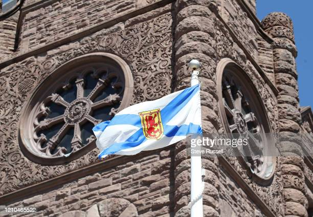 The Queens Park flies the flag of Nova Scotia in honour of the victims of the mass shooting in Nova Scotia . April 20, 2020.
