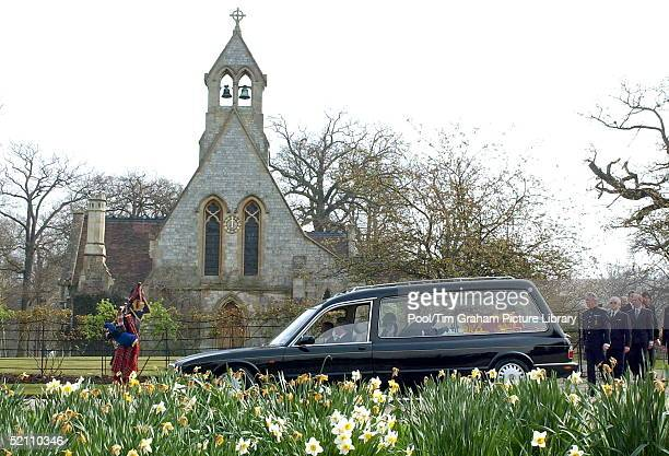 The Queen's Piper Jim Motherwell Playing As The Queen Mother's Coffin Is Carried Out Of The Royal Chapel Of All Saints At The Royal Lodge In Windsor...