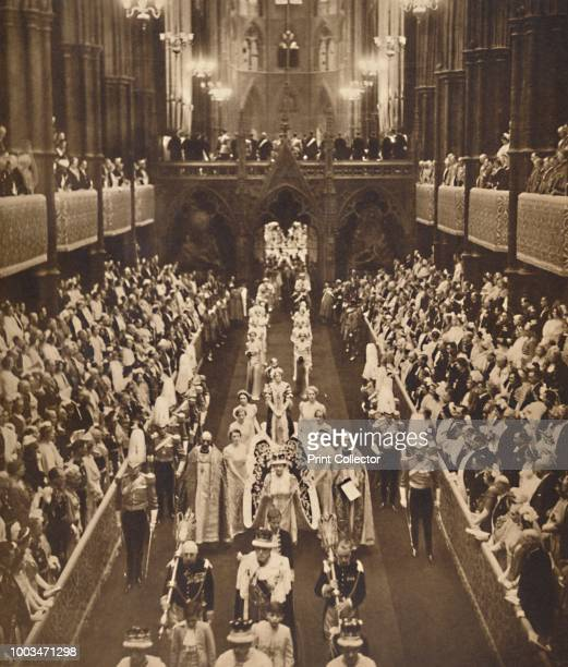 The Queen's Procession', May 12 1937. From Coronation Souvenir Book 1937, edited by Gordon Beckles. [Daily Express, London, 1937]. Artist Unknown.