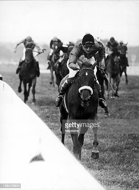 The Queen's racehorse Almeria ridden by Harry Carr wins the Ribblesdale Stakes at Ascot 19th June 1957