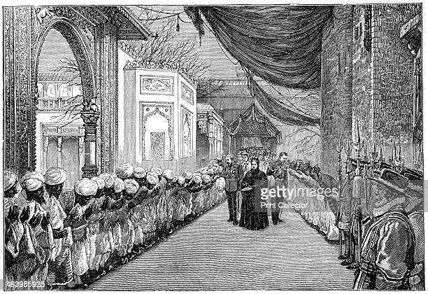 The queen's visit at the opening of the Indian and Colonial Exhibition London Indian subjects bow to Queen Victoria Empress of India Illustration...