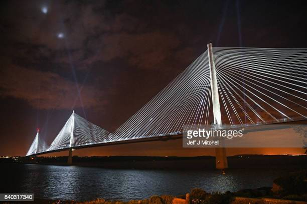 The Queensferry Crossing is light up to mark the ceremonial handover of the bridge from the contractors to Scottish Government on August 28 2017 in...