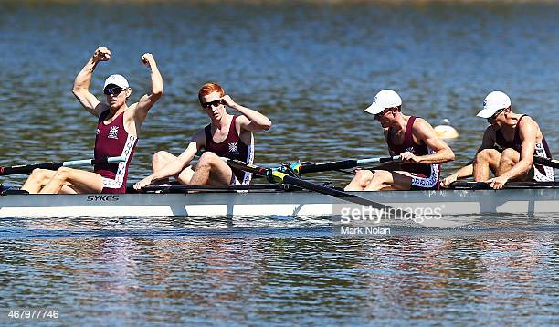 The Queensland crew of Jack Price Tim McDonnell Nick Silcox and Darryn Purcell celebrate winning the Lightweight Mens coxless four during the Sydney...