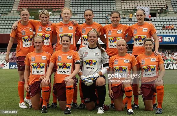 The Queensland Roar women pose for a team photograph prior to the WLeague 2009 Grand Final match between the Queensland Roar and Canberra United at...