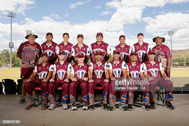 The Queensland team pose for a photo on media day during the National Indigenous Cricket Championships on February 7 2016 in Alice Springs Australia