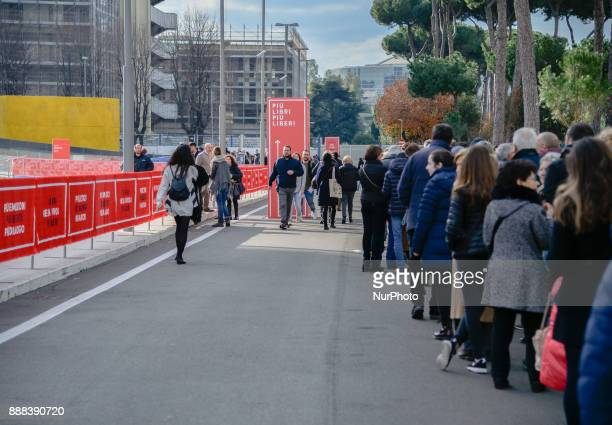 The queue of people waiting to enter the show 'Più libri più liberi' at 'Nuvola' Convention Centre on december 08 2017 in Rome Italy