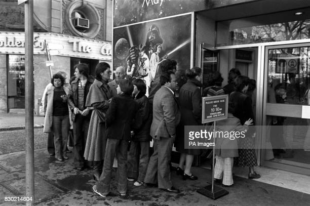 The queue outside Leicester Square Theatre for the London opening of the movie Star Wars film which opens to British audiences for the first time