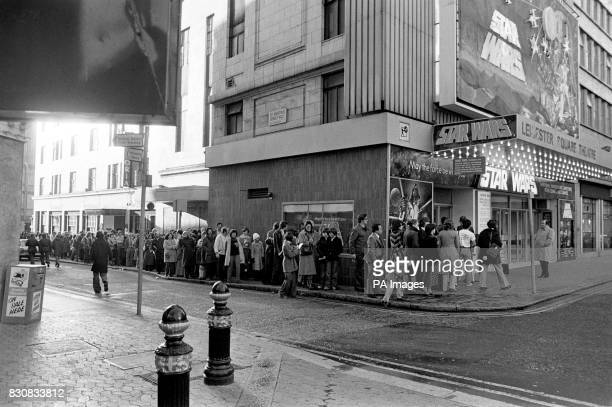 The queue outside the Leicester Square Theatre in the morning for the London opening of the movie Star Wars
