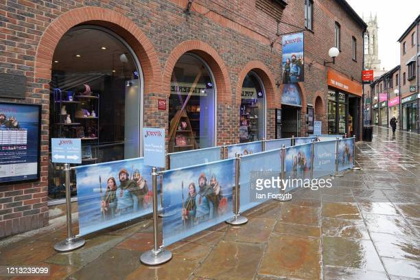 The queuing area of the Jorvik Viking Museum stands empty as the UK adjusts to life under the Coronavirus pandemic on March 18 2020 in York England...