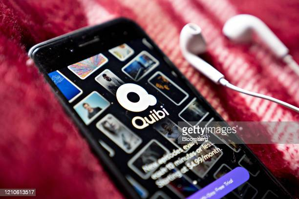 The Quibi shortform mobile video service application is displayed on a smartphone in an arranged photograph taken in Arlington Virginia US on Tuesday...