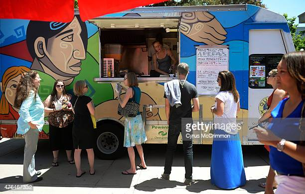 The Quiero Arepas Food Truck in Civic Center Park in Denver on Tuesday June 2 2015 They had by far the longest line stretching from their window as...