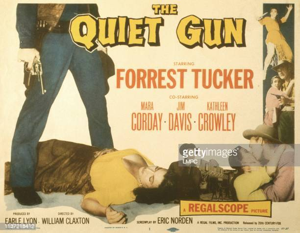 The Quiet Gun, poster, US poster, bottom from left: Mara Corday , Lee Van Cleef, kathleen Crowley, Forrest Tucker, 1957.