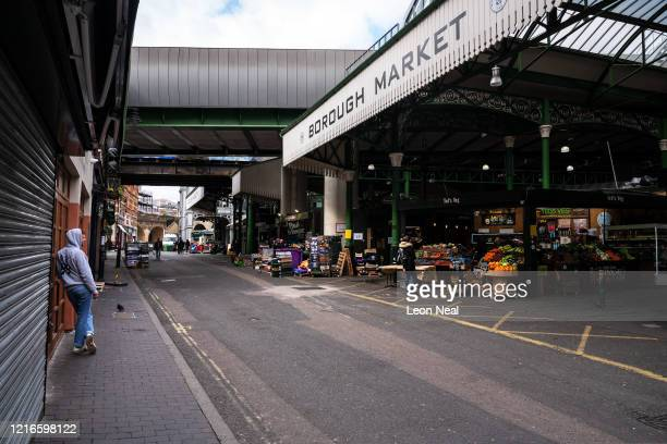 The quiet shopping area of Borough Market is seen on April 03 2020 in London United Kingdom The Coronavirus pandemic has spread to many countries...
