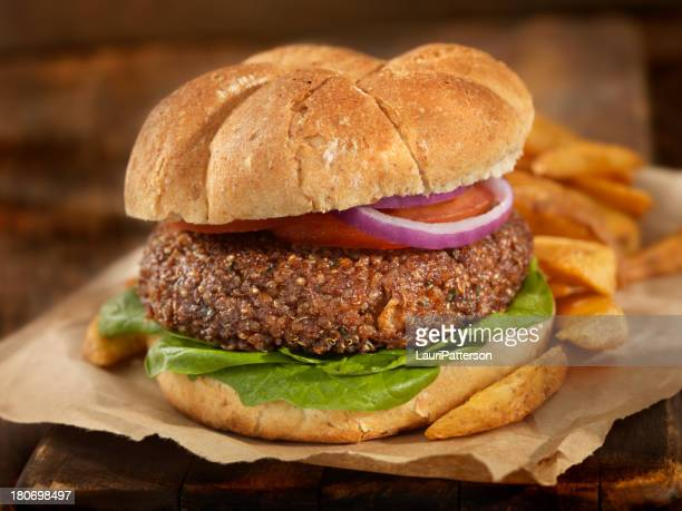 the quinoa burger - vegan food stock pictures, royalty-free photos & images