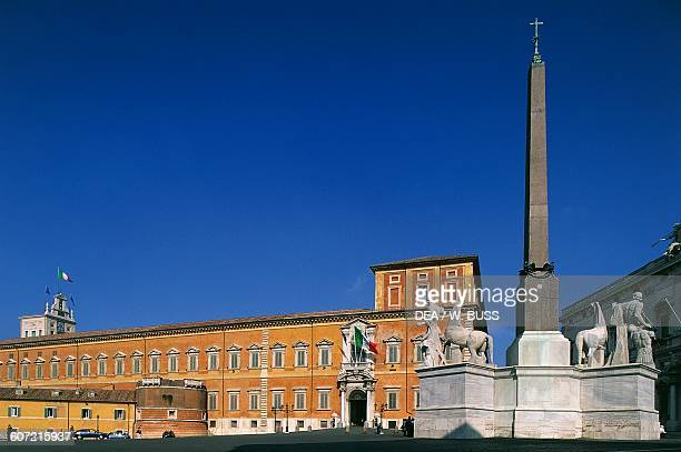 The Quirinal palace and the obelisk with the sculptural group of Castor and Pollux Piazza del Quirinale Rome Italy