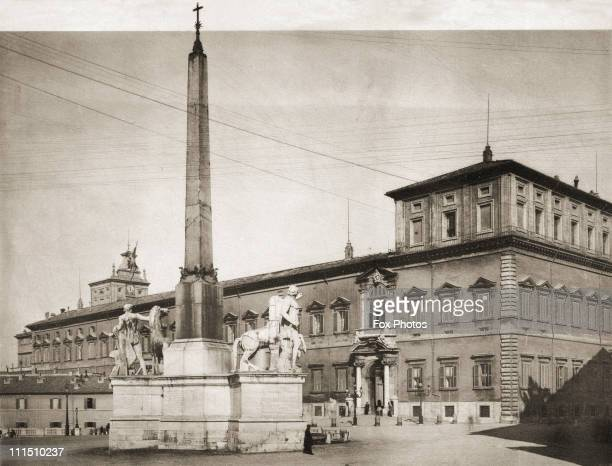 The Quirinal Palace in Rome, official residence of the Italian President, circa 1920. The obelisk was moved here from the mausoleum of Augustus, and...