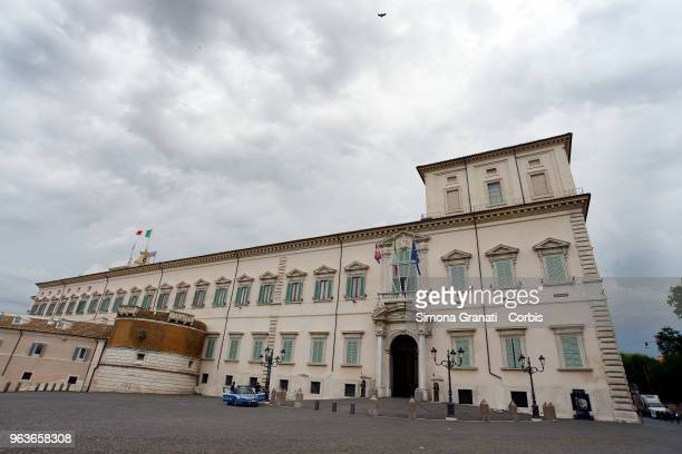 The Quirinal Palace with the Italian and European flags on May 30 2018 in Rome Italy