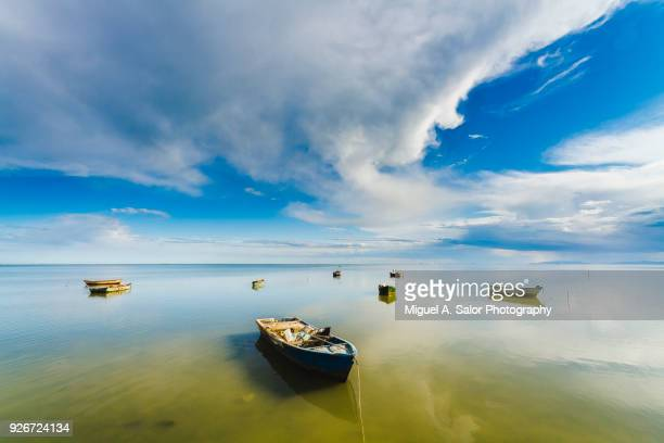 the quite boats - delta del ebro fotografías e imágenes de stock