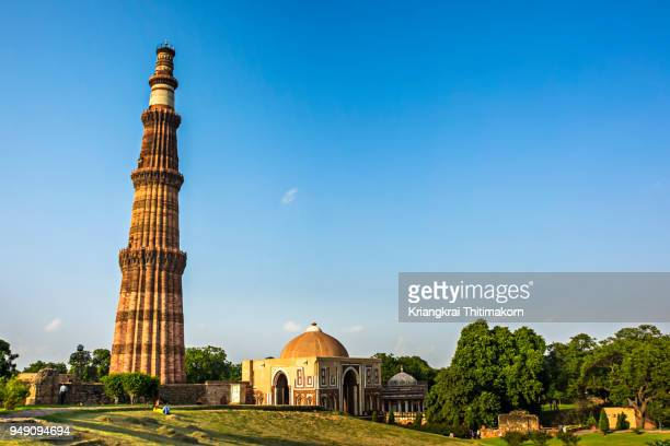 the qutub minar, new delhi, india. - delhi stock pictures, royalty-free photos & images