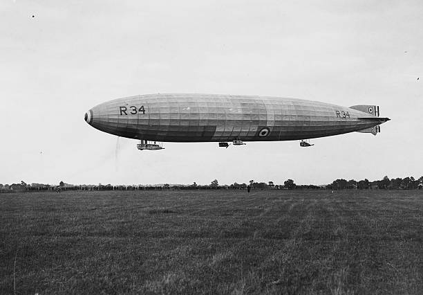 The R 34 airship landing at Pulham, Norfolk on its...
