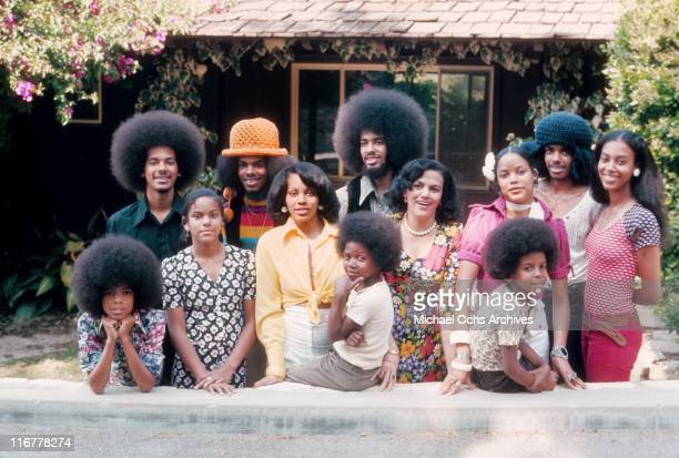 The R and B group The Sylvers along with their siblings pose for a portrait with their mother in May, 1974 in Los Angeles, California.