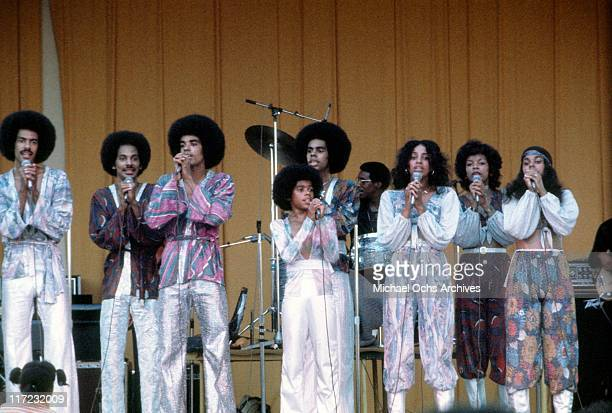 The R and B group The Sylvers performs circa 1976 in Los Angeles, California.