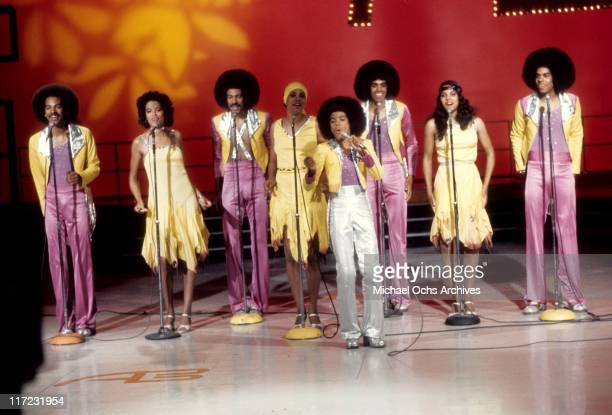 The R and B group The Sylvers performs on American Bandstand on July 10, 1976 in Los Angeles, California.
