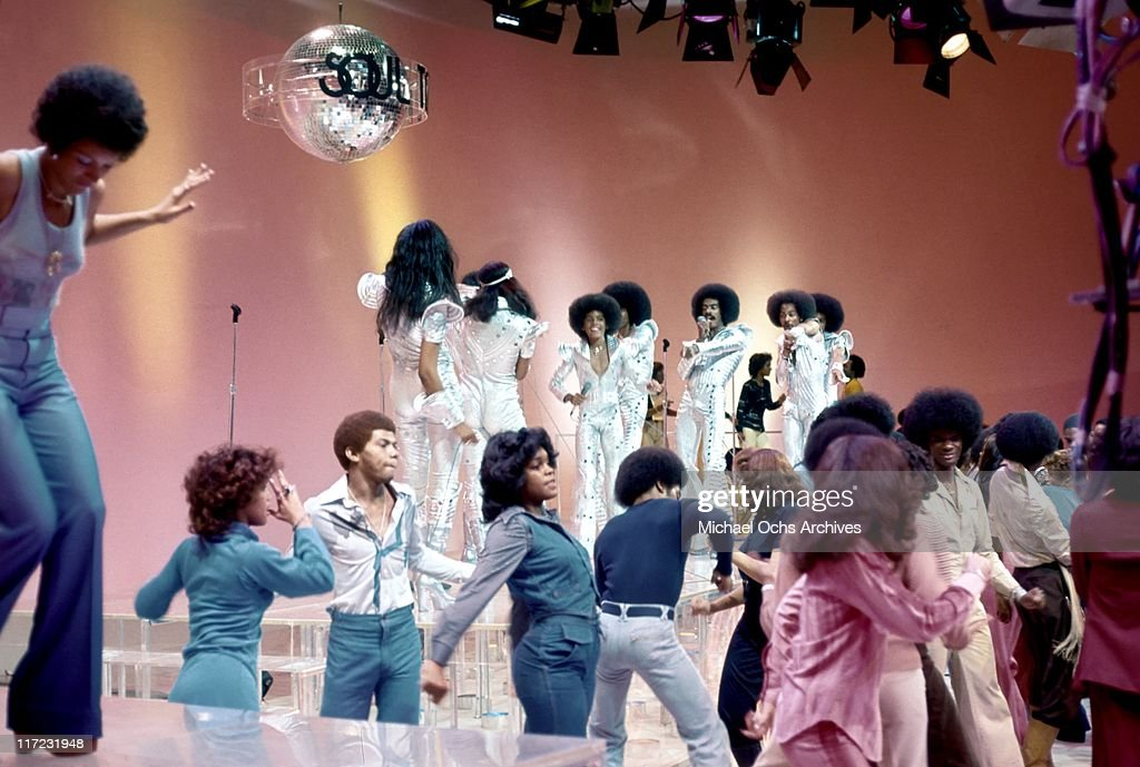 The R and B group The Sylvers performs on Soul Train in 1976 in Los Angeles, California.