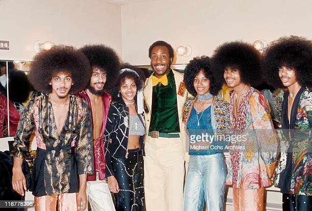 The R and B group The Sylvers pose backstage before performing at the Santa Monica Civic in March 3, 1974 in Santa Monica, California.