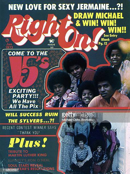 The R and B groups The Sylvers and The Jackson 5 are pictured on the Cover of the January 1973 cover of Right On! Magazine.