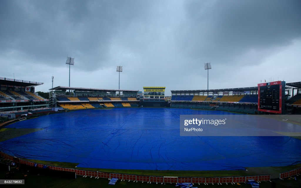 The R Premadasa International cricket stadium is fully covered with plastic rain covers before the start of the 1st and only T-20 cricket match between Sri Lanka and India in Colombo, Sri Lanka on Wednesday 6 September 2017.