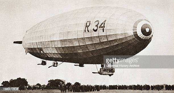 The R34 Rigid Airship Landing At Pulham Norfolk England July 13Th 1918 After It's First Return Atlantic Crossing From The Story Of 25 Eventful Years...