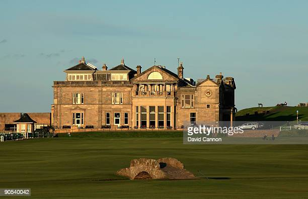 The RA Clubhouse and the Swilcan Bridge on the Old Course at St Andrews on August 29 2009 in St Andrews Scotland