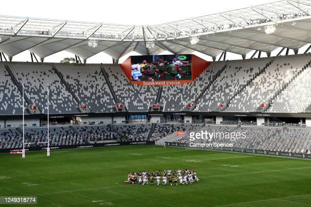 The Rabbitohs and the Titans unite togeather before the round five NRL match between the South Sydney Rabbitohs and the Gold Coast Titans at Bankwest...