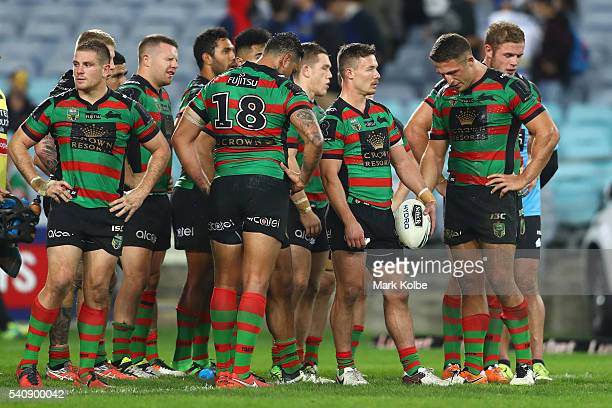 The Rabbitohs look dejected after a try during the round 15 NRL match between the South Sydney Rabbitohs and the Parramatta Eels at ANZ Stadium on...