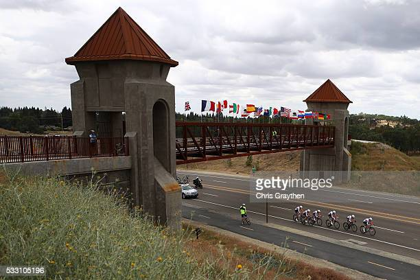 The Rabo-Liv Women Cycling Team rides during the stage two team time trial of the Amgen Breakaway from Heart Disease Women's Race on May 20, 2016 in...