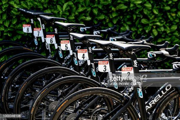 The race bicycles of Great Britain's Team Sky cycling team are pictured in Chambery on July 16 2018 outside the team's hotel on the first rest day of...