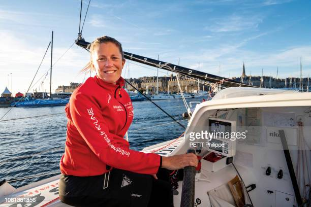 The Race La Route du Rhum 2018 IThe sailor Samantha Davies aboard his boat class Imoca Initiatives CÅur is photographed for Paris Match in the harbor...