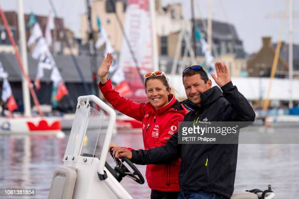 The Race La Route du Rhum 2018 the sailors Samantha Davies and Romain Attanasio are photographed for Paris Match in the harbor of SaintMalo on...