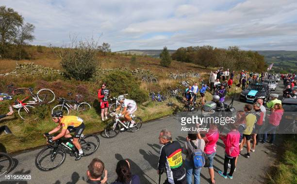 The race leader Mark Cavendish of Sky Pro Cycling climbs Gun Hill in Staffordshire during Stage 5 of the Tour of Britain on September 13, 2012 in...
