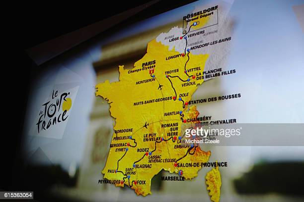 The race route map is displayed during Le Tour de France 2017 Route Announcement at the Palais des Congres on October 18 2016 in Paris France