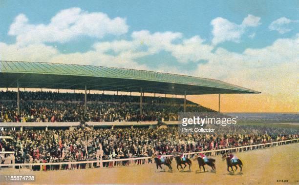 The Race Track, Hialeah, near Miami, Florida, USA, circa 1930s. Hialeah Park Race Track first opened in 1922. Postcard. [J. N. Chamberlain, Miami,...