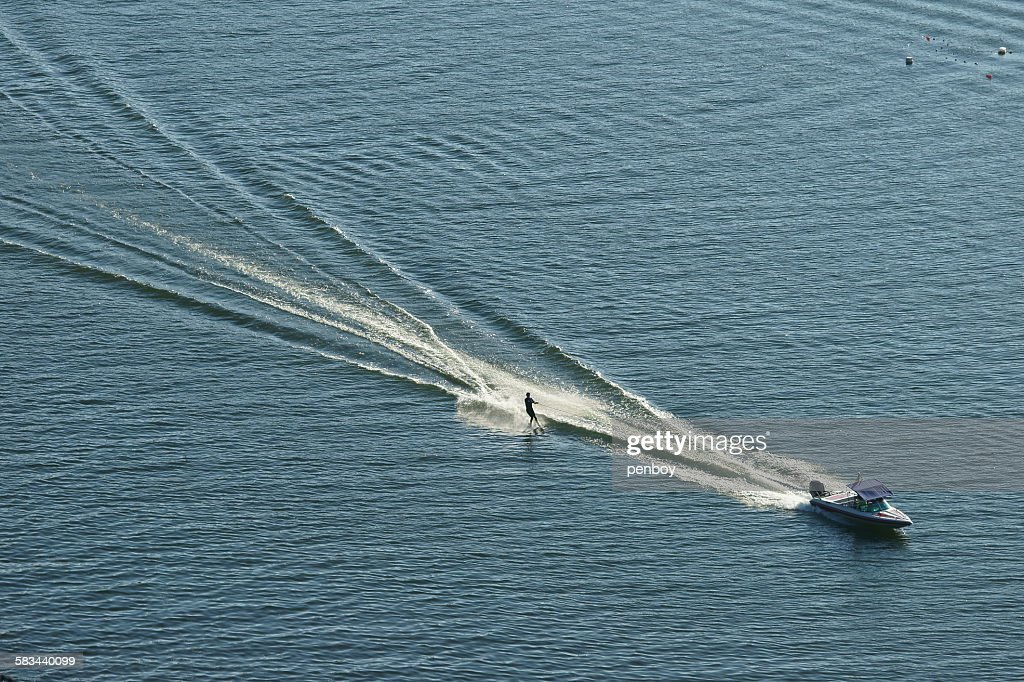 The race trail of waterskiing : Stock Photo