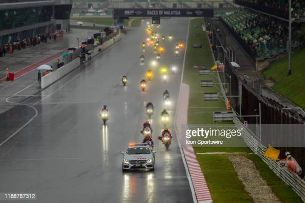 The race under safety car period during the FIM EWC - The Sepang 8 hours Endurance Race on December 14 held at Sepang International Circuit in...