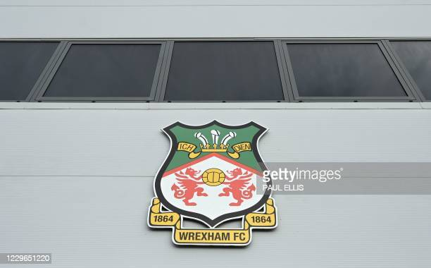 The Racecourse Ground stadium the home football ground of Wrexham FC is pictured in Wrexham north Wales on November 17 2020 Hollywood stars Ryan...